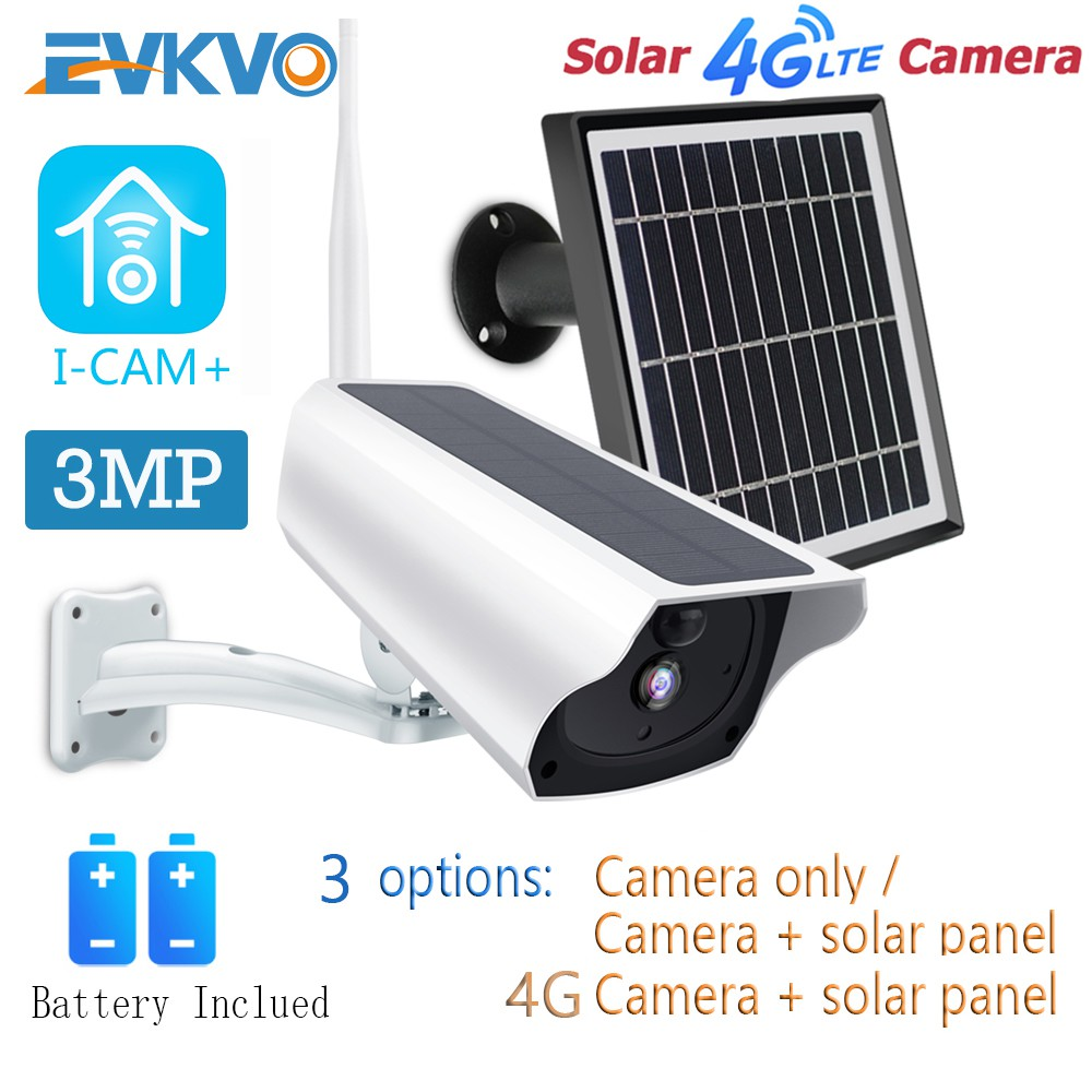 Evkvo 4g Lte Sim Card Panel Energi Surya Baterai Termasuk I Cam App Full Hd 3mp Waterproof Wireless Wifi Solar Energy Battery Bullet Ip Camera Cctv Penglihatan Malam Inframerah