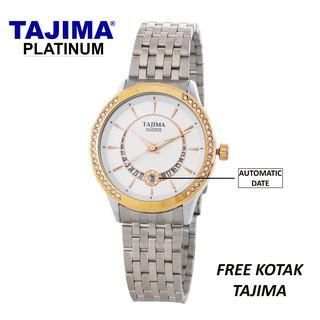 Jam Tangan Wanita Pria Tajima / Jam Tangan Stainless Steel Date 3817 Original
