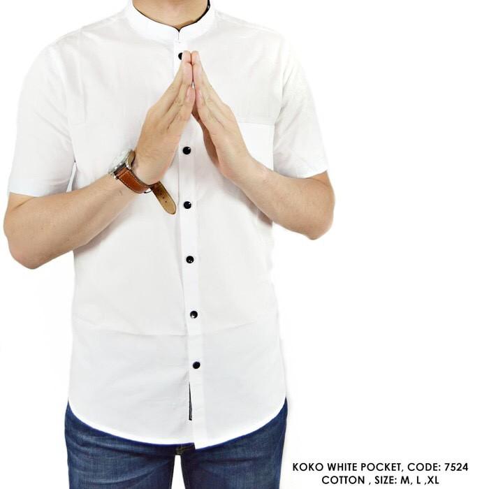Dijual baju kemeja koko muslim pria modern remaja tangan lengan panjang slimfit putih polos zyan |