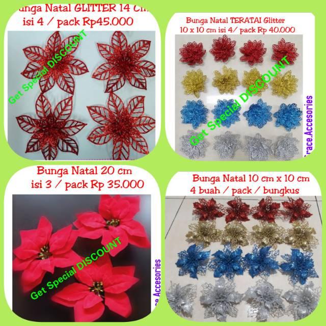 Hiasan bunga natal glitter isi 4 / 3 hiasan aksesoris