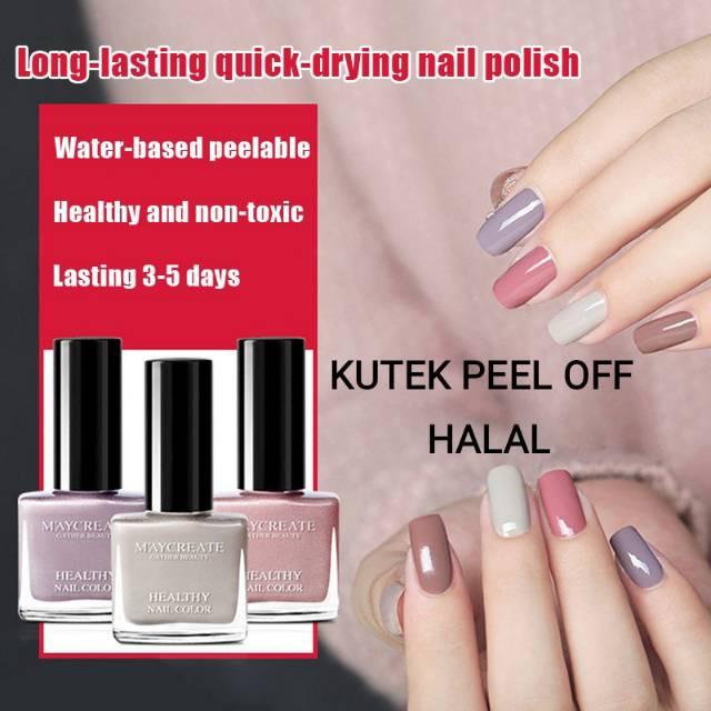 Maycreate Peel Off Nail Polish Kutek Halal Kutek Muslimah Shopee Indonesia