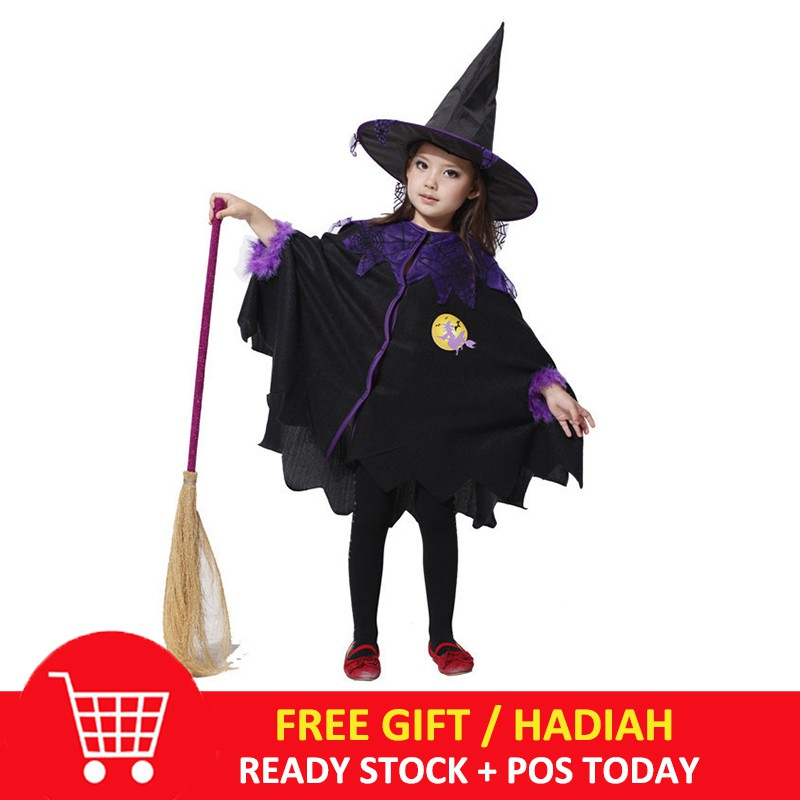 Kostum Cosplay Halloween Bentuk Dress Penyihir Warna Ungu untuk Anak Perempuan | Shopee Indonesia