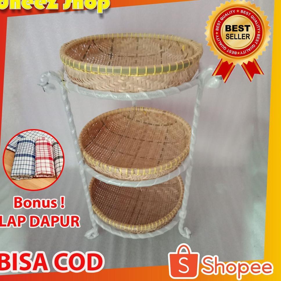 Tempat Bawang Murah-Rak Susun Bumbu Dapur-Rak Bawang-Rangka Besi-Rak Buah-Rak Susun Anyaman Bambu (A