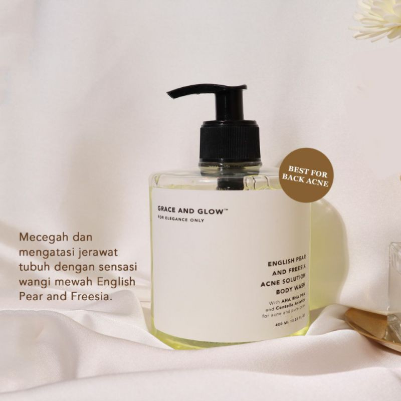 Grace and Glow English Pear & Freesia Anti Acne Solution Body Wash AHA + BHA + PHA+Centella Asiatica