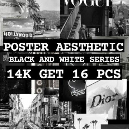 16 Pcs Poster Aesthetic Black And White Series Wallposter Wall Art Poster Dinding Wallpaper Shopee Indonesia