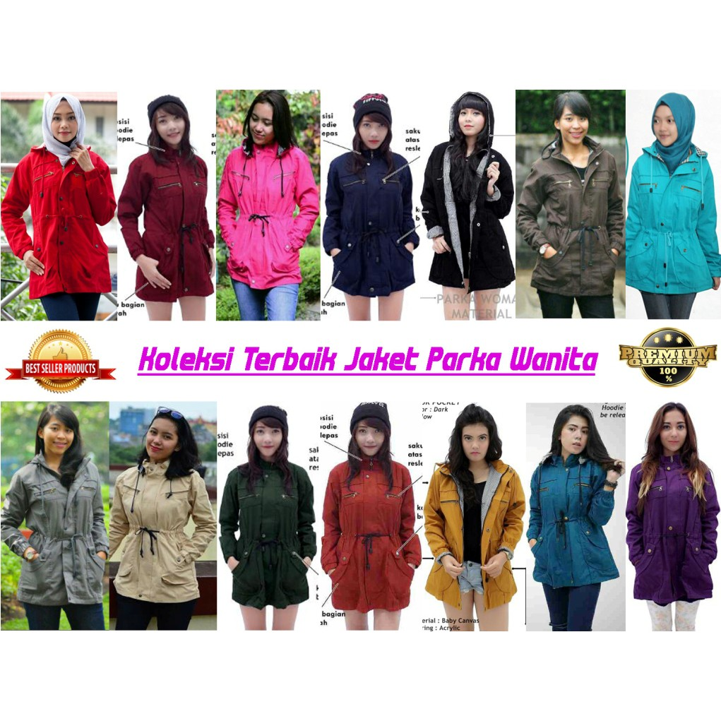 Blazer Parka Perempuan Blassher Canvas All Warna Shopee Jaket Wanita Merah Maroon Indonesia