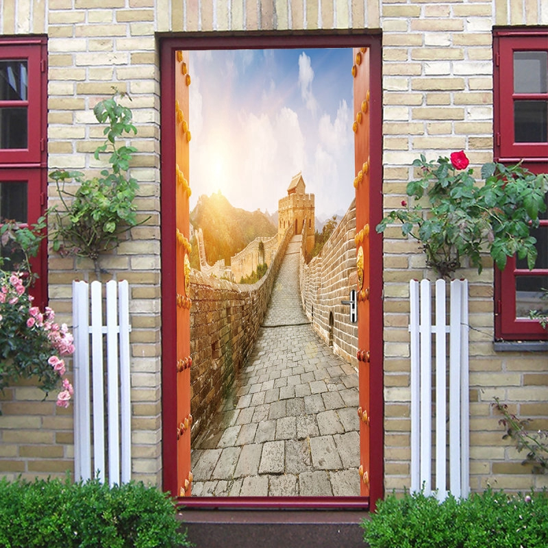 3D Window View Red Forest Wall Stickers Art Decals Murals 275