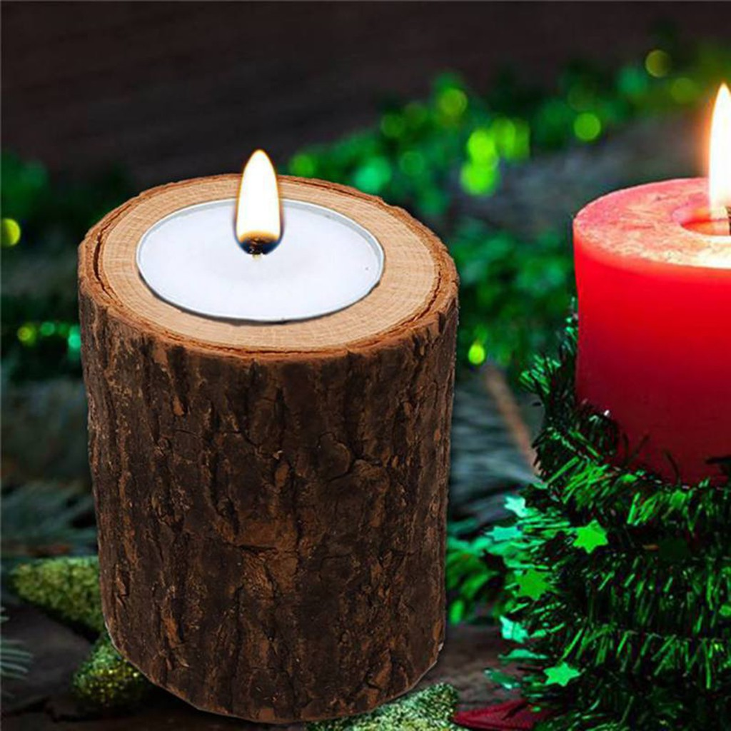 Set 3 Raw Stump Tealight Candle Holder Succulent Pot For Home Wedding Decor