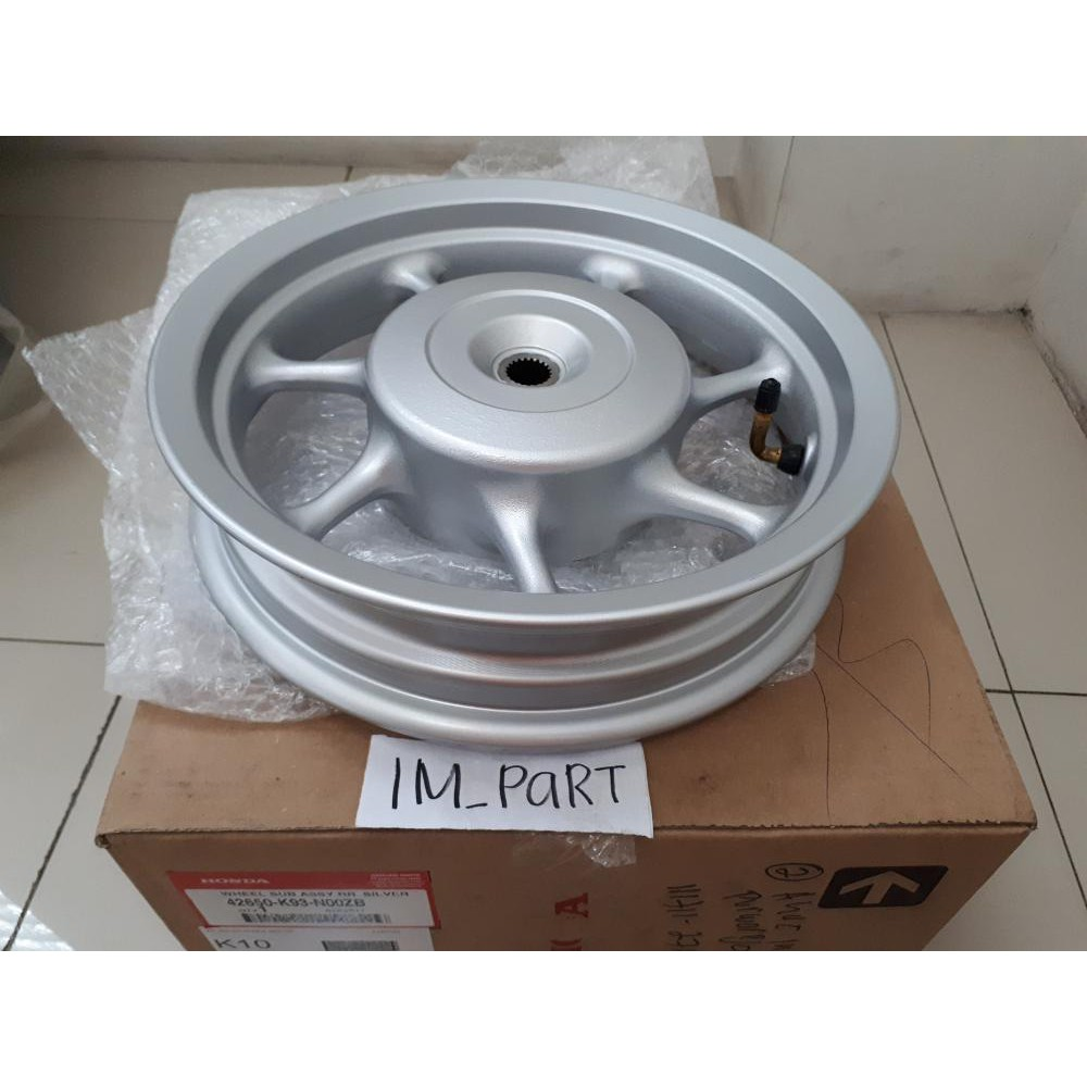 Velg racing belakang new SCOOPY FI 2017 silver ring 12 K93 N00ZB