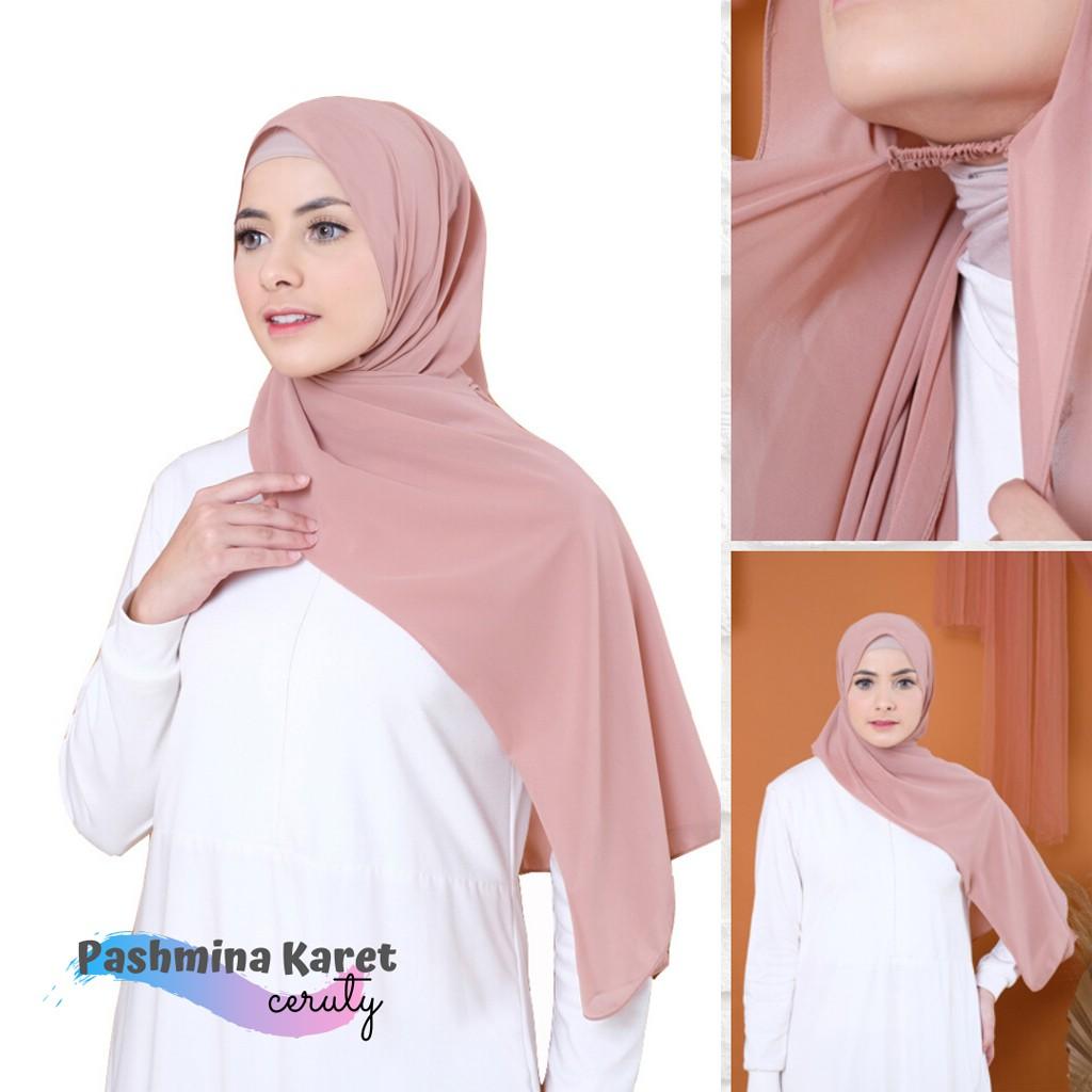 Pashmina Jilbab Pashmina Karet Ceruty Shopee Indonesia