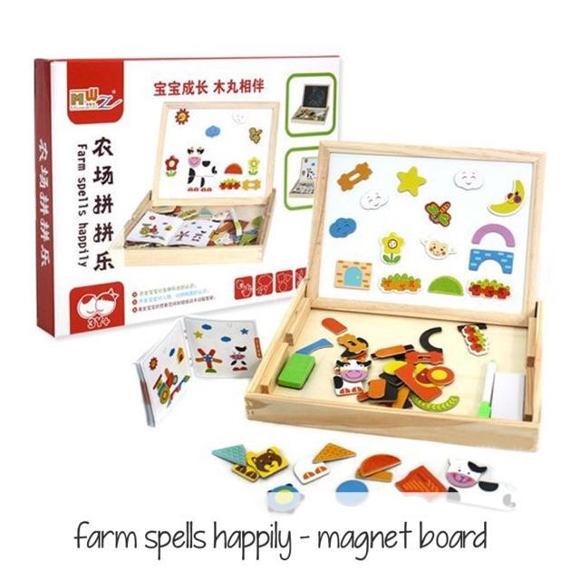 Edufuntoys - FARM SPELLS HAPPILY MAGNETIC BOARD/ papan tulis magnet/ white board | Shopee Indonesia