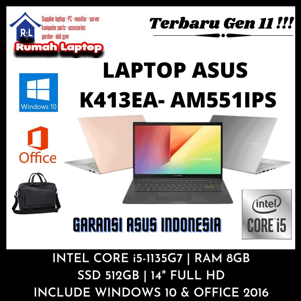 "TERBARU LAPTOP ASUS CORE i5 GEN 11 K413EA AM351TS RAM 8GB SSD 512GB 14"" FULL HD WIN10 RESMI MURAH"