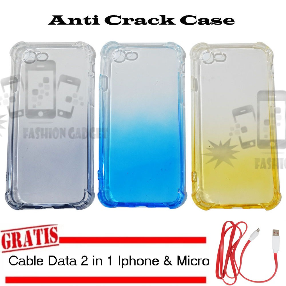 Anti Crack Case Vivo V5 +FREE Kabel 2 in 1 Iphone & Micro Softcase Casing