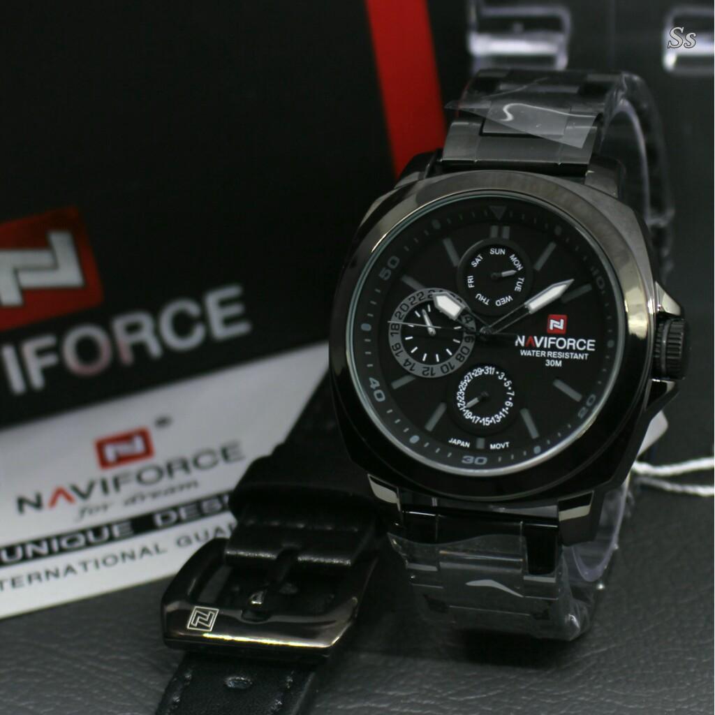 Jam Tangan Pria Naviforce Nf9075 Black Leather Spec Dan Naviforce Jam Tangan Pria Stainless Steel Nf9173by