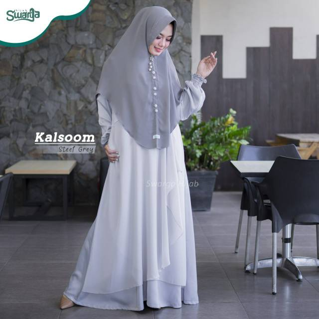Gamis Kalsoom Dress Steef Grey By Swarga Hijab Shopee Indonesia