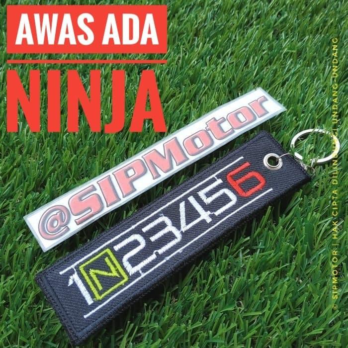 Gantungan Kunci Motor Ninja 1N23456 Keytag Keychain Bordir