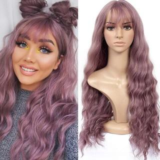 Wig Wanita Rambut Keriting Panjang Cosplay Wig Merah Muda Ungu Poni Udara Rambut Panjang Wig thumbnail