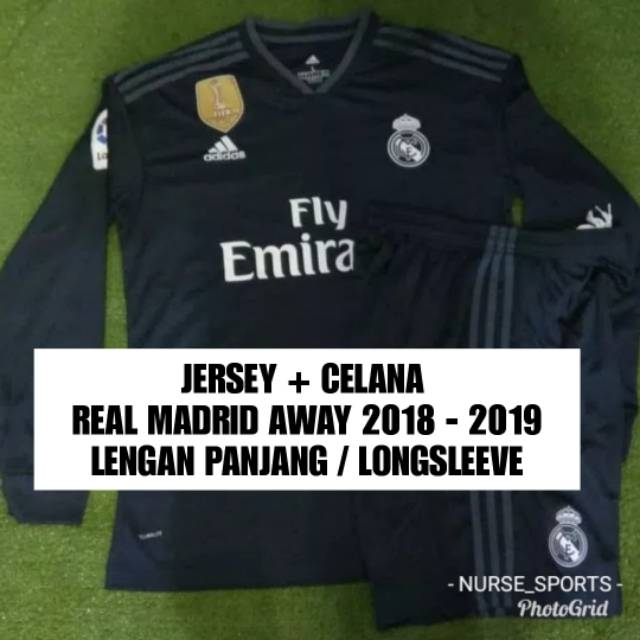 6b073c0b9 SATU SET JERSEY REAL MADRID AWAY MUSIM 2018 - 2019 GRADE ORI ...