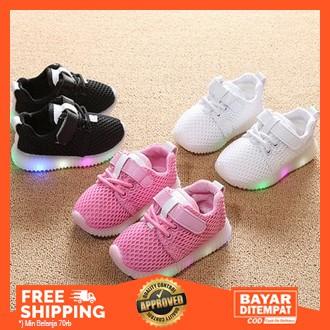 Bisa Cod Sepatu Anak Laki Laki Perempuan First Sneaker Lampu Led