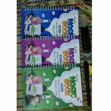 1set/3 pcs Buku Ajaib Belajar Menulis Huruf Angka Hijaiyah /Arabic Trace Magic Book