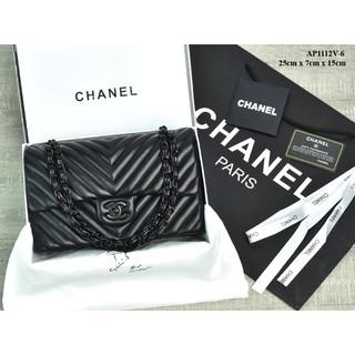 57d8dd5aaf53 TAS BRANDED IMPORT MURAH - Tas Chanel Chevron So Black Medium Lambskin  HITAM Semi Premium AP1112V-6