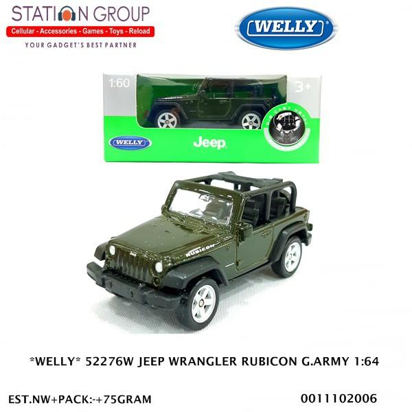 Green Jeep Wrangler >> Welly 52276w Jeep Wrangler Rubicon Green Army 1 60