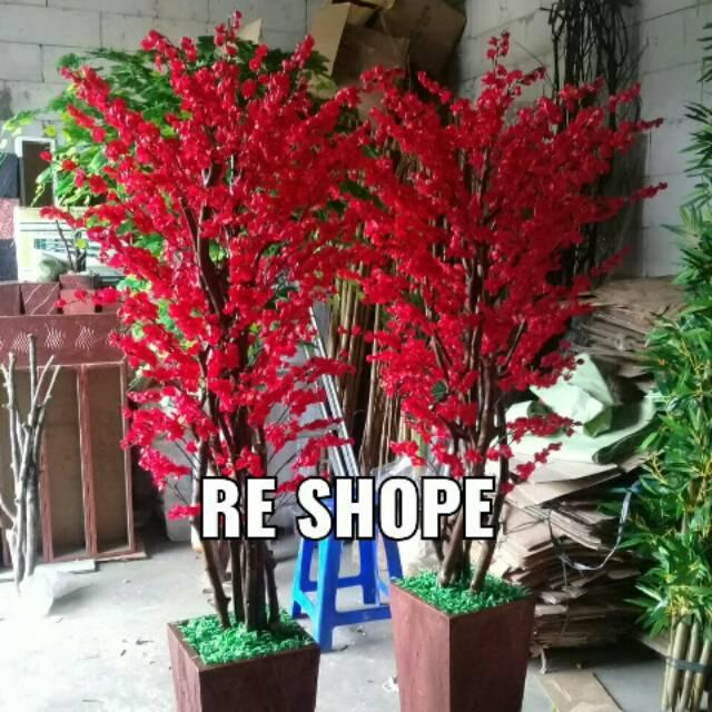 Bunga Plastik Bunga Hias Artificial Pohon Sakura Merah Rimbun Shopee Indonesia