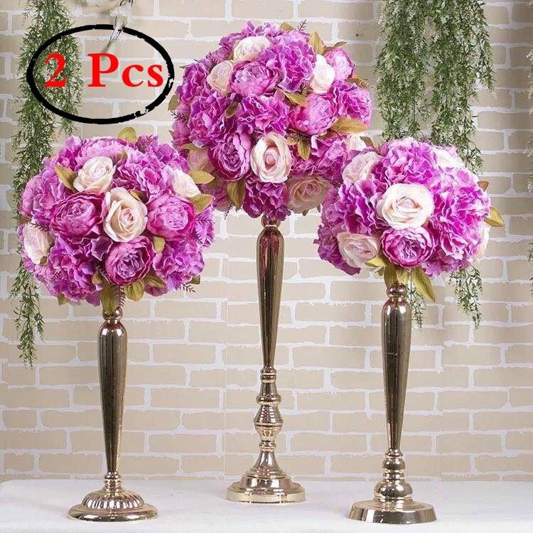 2 Pcs Set Versatile Metal Flower Arrangement Candle Holder Stand For Wedding Party Dinner Shopee Indonesia