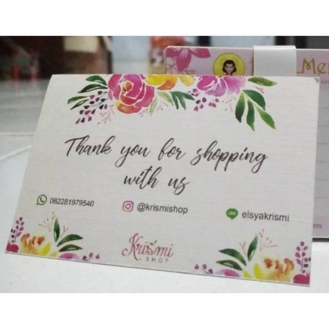 Cetak Kartu Ucapan Terima Kasih Online Shop Isi 100pcs Shopee Indonesia