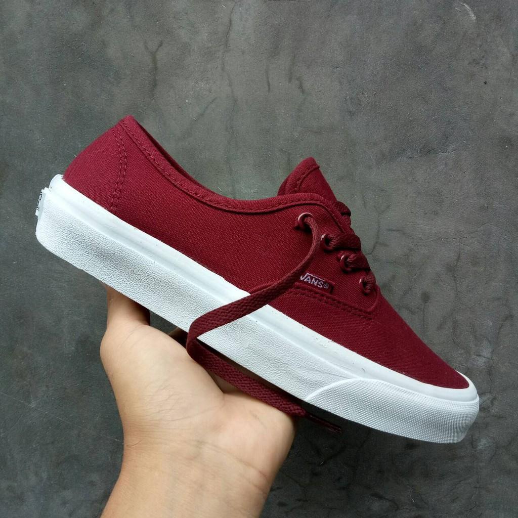 Sepatu Vans Authentic Mono Red Maroon White Merah Putih Original