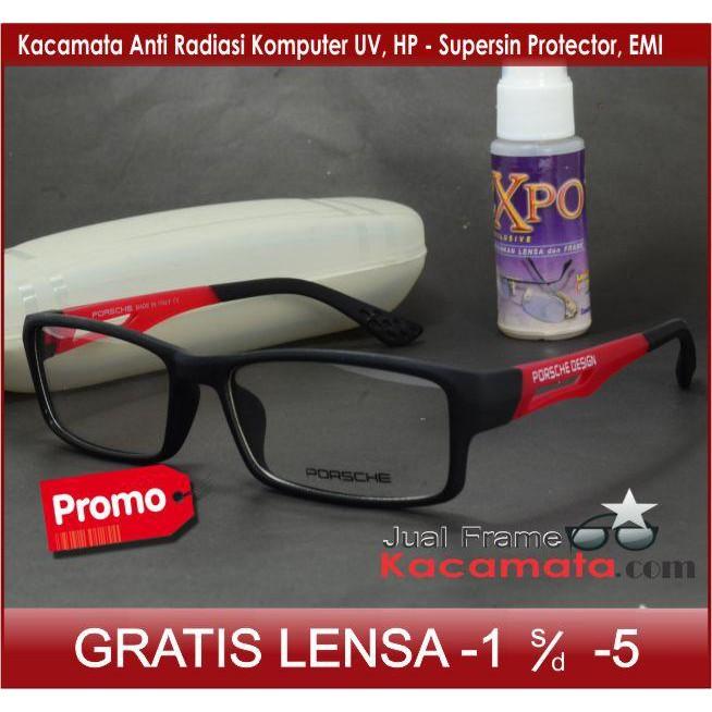 🚚 COD ✓ Frame Kacamata Minus Porsche Design + Free Lensa Minus Baca  Antiradiasi Komputer Hp Uv  05f858cff9