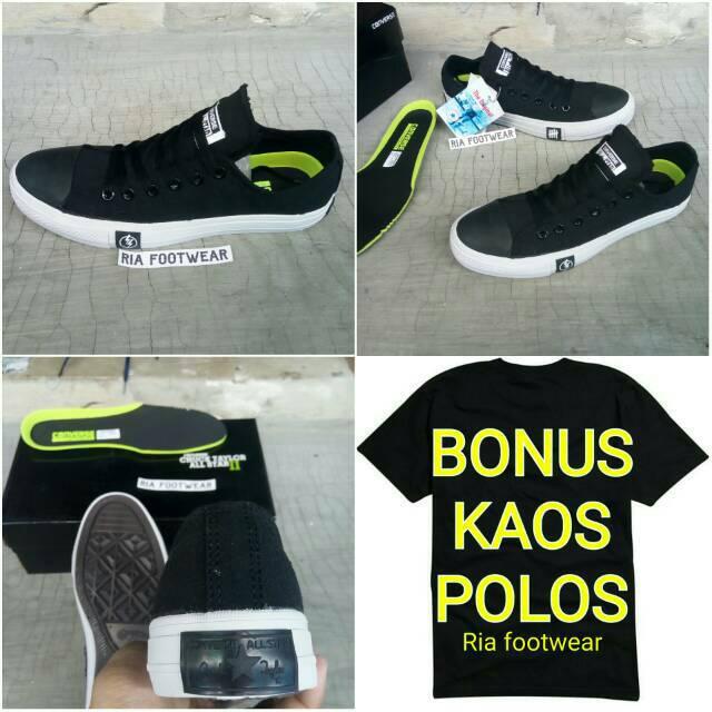Sepatu Converse Allstar Classic High Black White Import Bahan Kulit ... 8c8ce5a200
