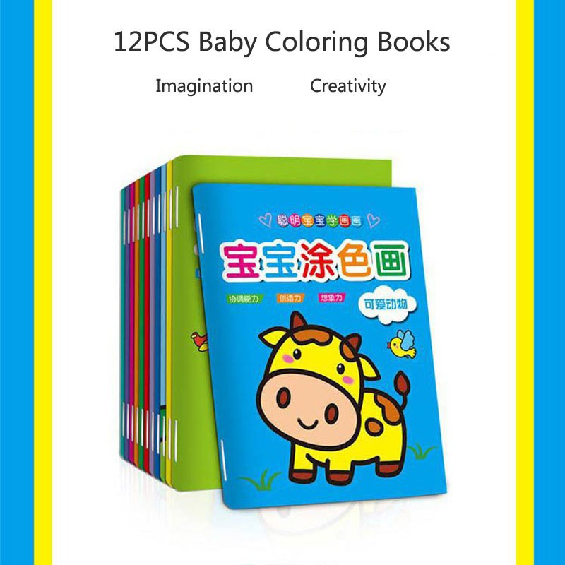 12 Books Kids Education Early Learning Coloring Painting Book Doodle Stick Figure Coloring Book For Children Shopee Indonesia