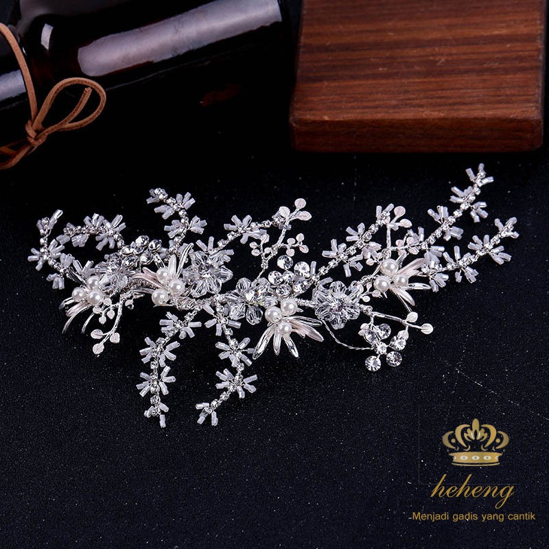 Silver Crystal /& Pearl Large Snowflake Hair Pins Clips Grips Bridal Wedding Prom