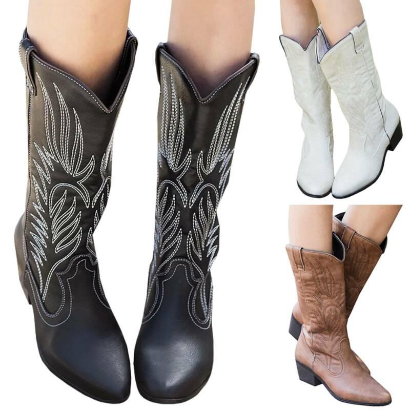Sepatu Boots Cowboy Low Block Heels Aksen Bordir Gaya Cowboy untuk ...