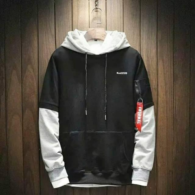 Sweater Pria Blacktipe Beludru Panas Musim Gugur Berkerudung Dingin Remaja Memakai Versi Korea Trend