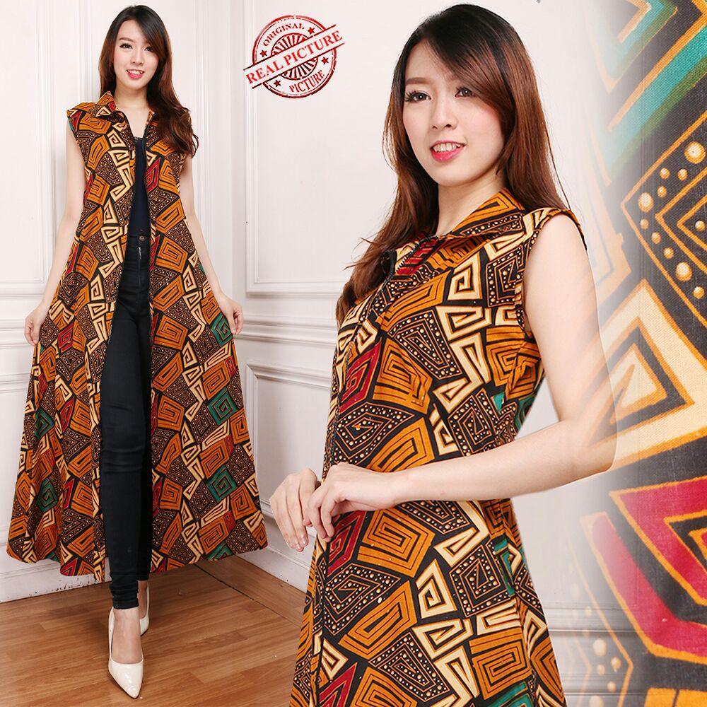 Gamis Maxi Dress Gima Cardigan Rompi Long Dress Terusan Outer Blazer Batik Wanita All Size