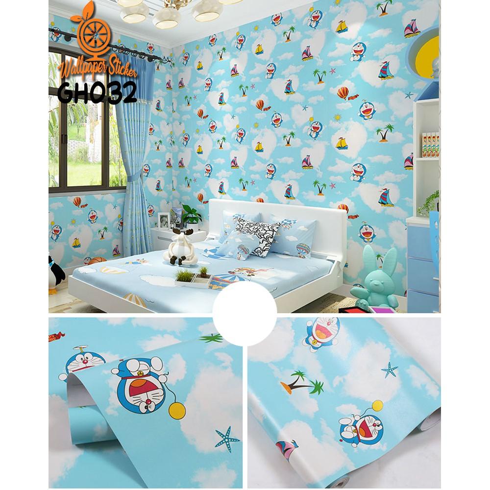 COD Wallpaper Stiker Dinding 45CM—10M Motif Doraemon Wallpaper Stiker Surabaya Murah GH032