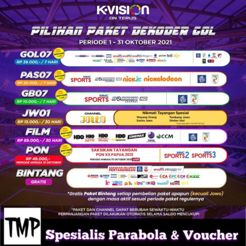 [PROMO] Paket Voucher Kvision K-vision Garmedia GOL LIGA 1 BRII