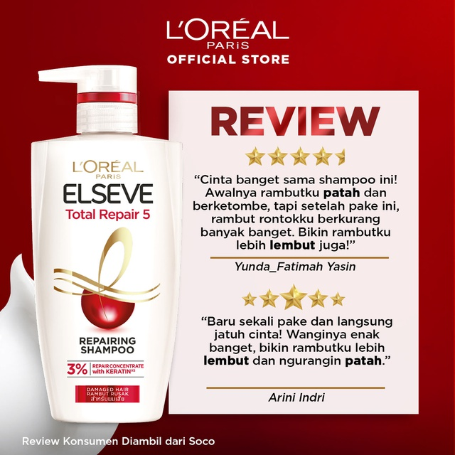 L'Oreal Paris Total Repair 5 Shampoo Hair Care 620ml  x2 Pcs [Perawatan Rambut Rusak]-1
