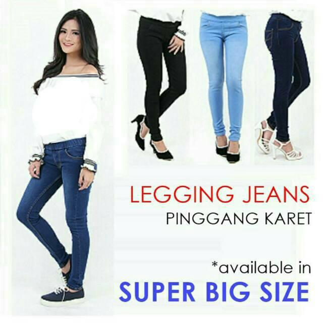 [28-42] Celana Panjang Legging Jeans JUMBO BIG SIZE/Celana Pinggang Karet JEGGING JSK JEANS JUMBO   Shopee Indonesia