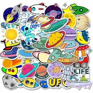Sticker Stiker Astronot Ukuran Kecil Lucu Keren Bisa Tempel Di Hp Kulkas Laptop Helm Motor Dll Shopee Indonesia