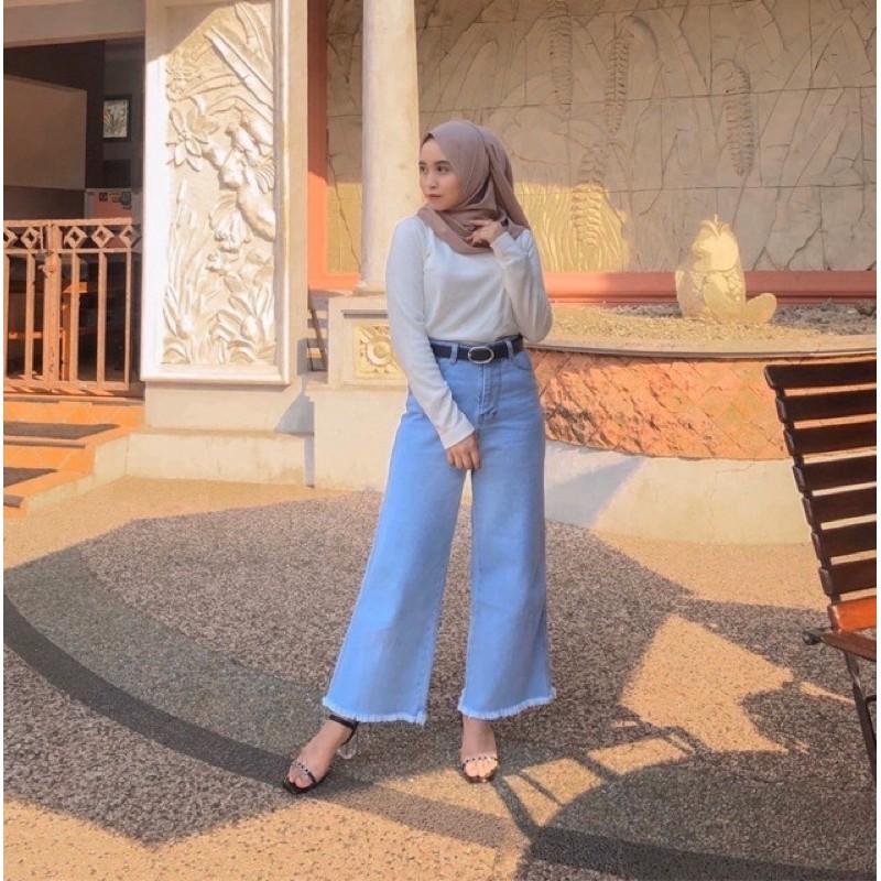 High Waist Celana kulot jeans// Jeans kulot wanita ...