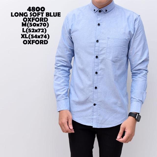 Kemeja pria polos lengan panjang oxford baju cowok slimfit soft blue biru kasual formal | Shopee Indonesia