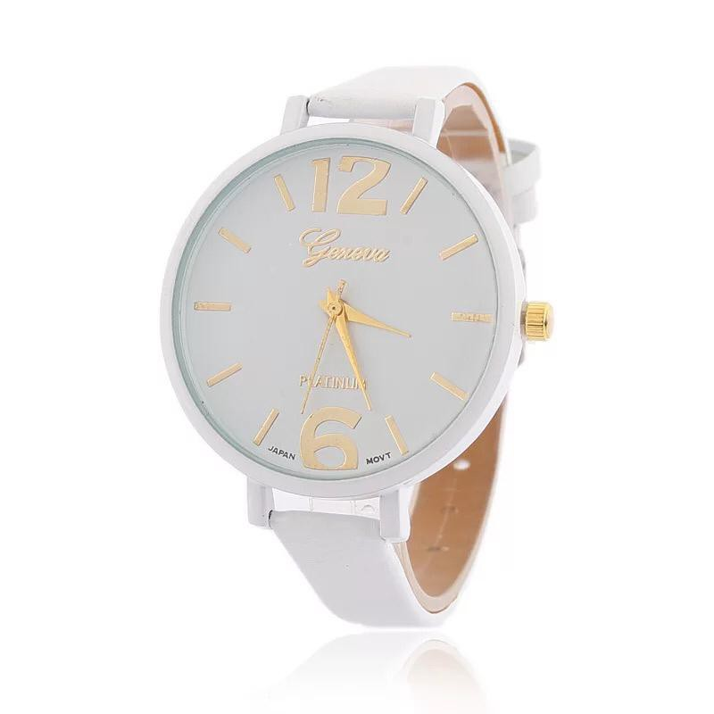 Jam Tangan JT05 Wanita Geneva Quartz Tali Kulit Imitasi Jam Tangan Tali Kecil .