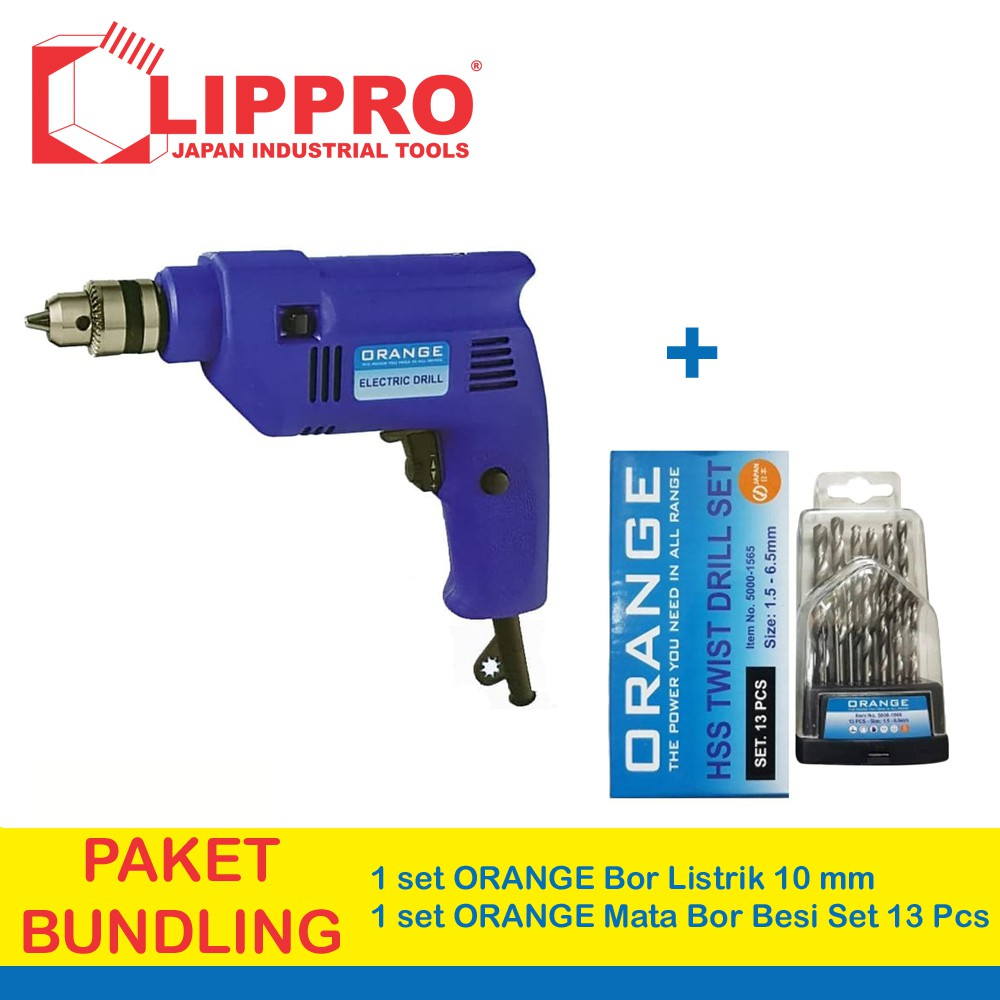 Orange Mesin Bor Portable Obeng Baterai Cordless Drill Mata Besi Set 13 Pcs Mollar Shopee Indonesia