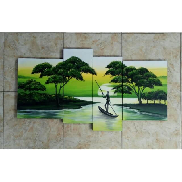 Lukisan Pemandangan Alam Manusia Perahu Shopee Indonesia