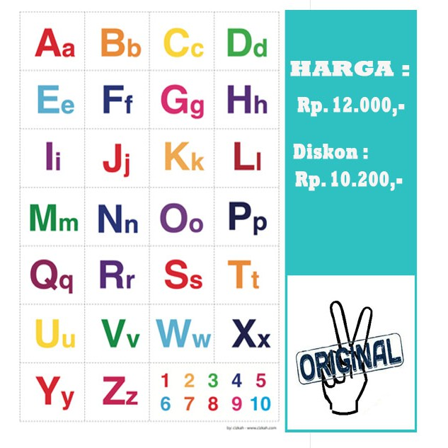Poster Belajar Abjad Latin Anak Huruf Kapital Huruf Kecil Shopee Indonesia