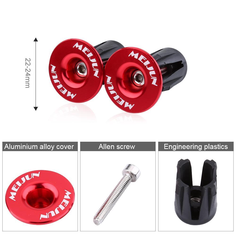 Bike Bicycle Aluminum Handlebar Grips Cap Plug Handle Bar Caps End Plugs 22-24mm