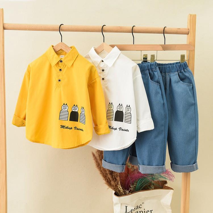 Set Baju Atasan Kemeja Lengan Panjang Dengan Gambar Kartun Celana Untuk Bayi
